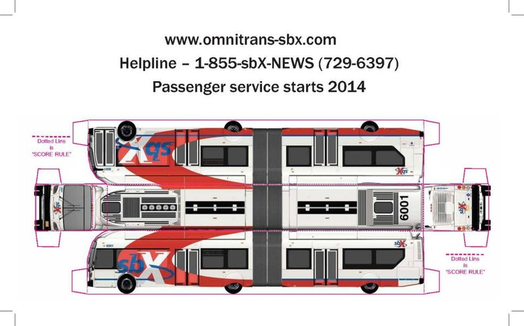 "Paper model bus of one of the new Omnitrans sbX Bus Rapid Transit fleet which begins service in 2014. Print out on 8.5""x14"" or 11""x17"" cardstock paper and cut along the solid red lines. Fold at the dotted lines. Tuck tabs inside and connect at the interlocking slots to secure the corners."