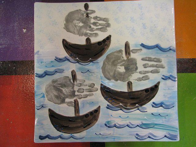 Handprint sailboats