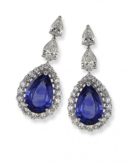 18 ct White Gold Earrings, Sapphire