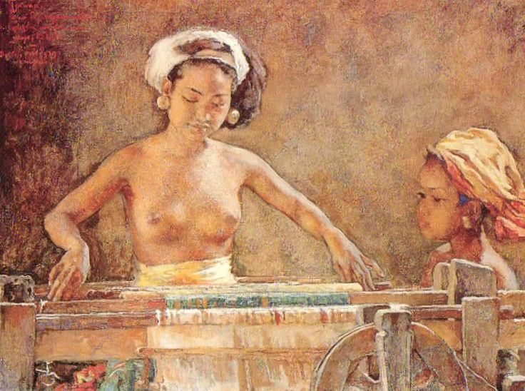 "Willem Gerad Hofker - entiltled ""Ni Tjawan and Little Ketoet at a Weaving Loom. The painting was last auctioned in Singapore in March 1996 by Christies. Estimate: S$200k to S$300k. It was sold for S$608,750 to an Indonesian."