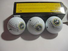 Set of 3 Golf Balls with President Ronald Reagan Engraved Signature and Presidential Seal on each Ball; Original Presentation Box Included