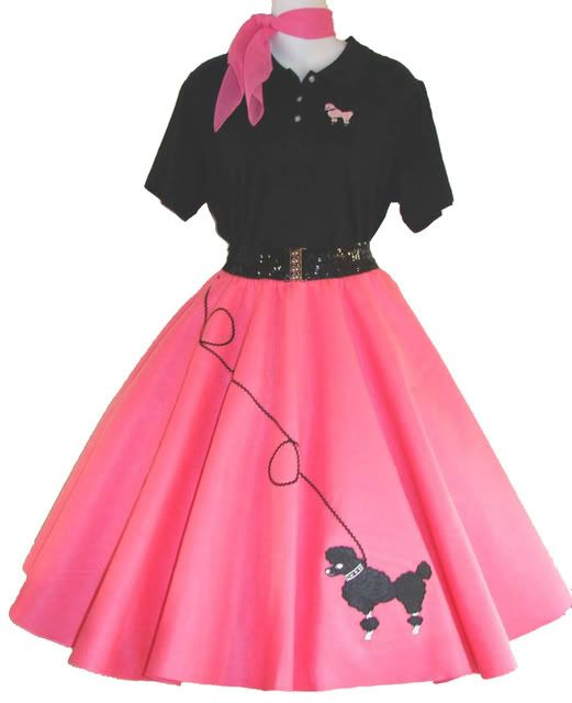 poodle skirts - the classic 50's look in pink & black that was so popular back then...