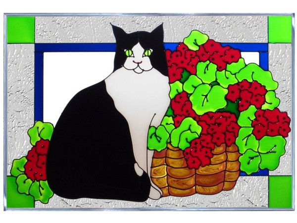 Cat & Geraniums Hand Painted Stained Glass Art