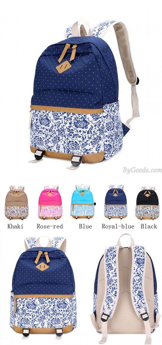 Fresh Floral Canvas Travel Backpack Polka Dot Leisure Backpack&Schoolbag for big sale ! #dot #canvas #floral #fresh #travel #Backpack #school #rucksack #lace