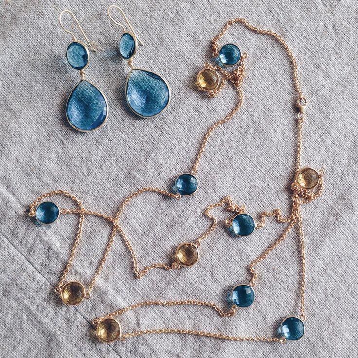 Серьги цвета голубого топаза и цепочка-ожерелье