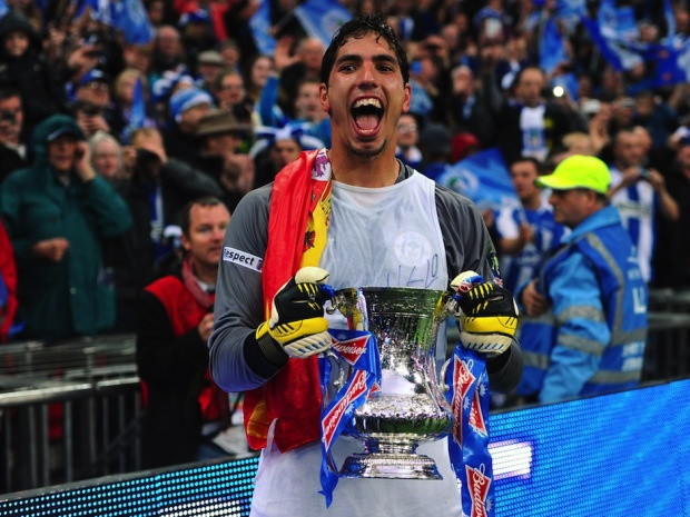 ~ Joel Robles of Wigan Athletic celebrating with the FA Cup ~