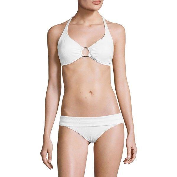 Melissa Odabash Women's Brussels Bikini Top - White, Size 44 ($125) ❤ liked on Polyvore featuring swimwear, bikinis, white, scrunch bikini, halter bikinis, halter bikini tops, white halter top and white bikini