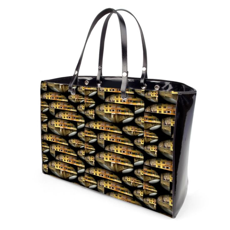 """""""Ponte Vecchio"""" Handbag  - Available in leather or vinyl finishes Leather handles and steel protection feet Two inner pockets, one with zip 2 sizes available: small and large 10 years warranty"""