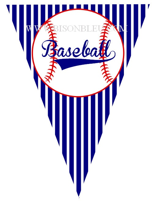 baseball printable pennant by bisonbleu on etsy   5 00