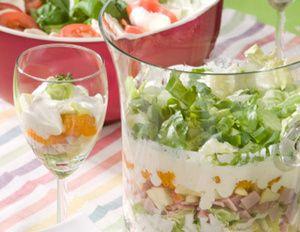 Eisbergsalat und Fenchelknolle klein schneiden, Mandarinen abtropfen lassen. Äpfel mit Schale würfeln, mit Zitronensaft beträufeln. Forellenfilets...