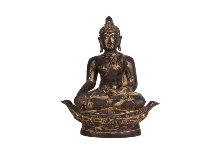 Description A lacquered gilt bronze figure of Buddha Thailand, seated on an unusual oval seat  Date Probably 19th century  www.collectorstrade.de
