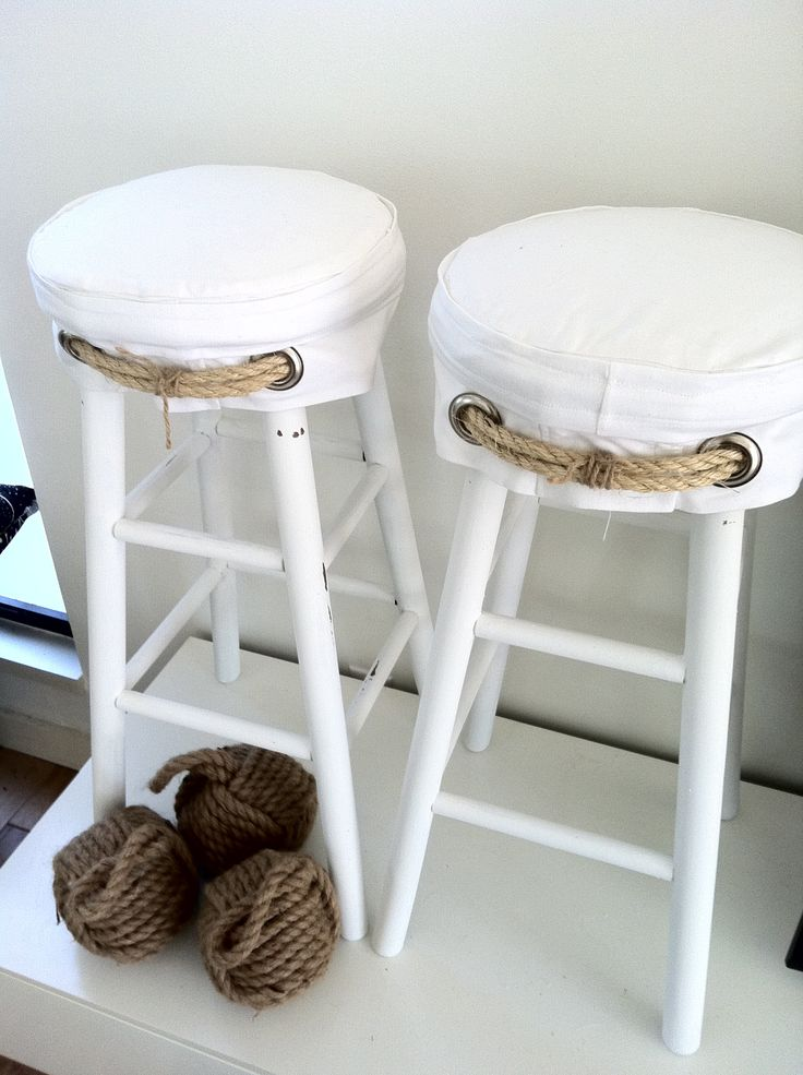 Sail cloth slipcovers for barstools by Lori Atkinson Atlantic Beach Fl