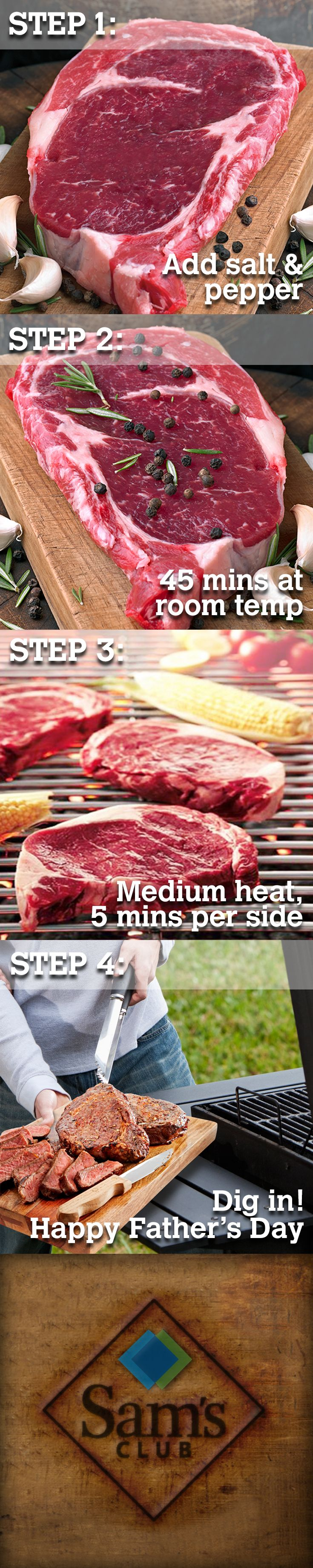 Plan the perfect Father's Day from start to finish. Make his Father's Day sizzle to perfection with our USDA choice ribeye steak, hand cut from 100% Angus Beef.  For an extra kick of flavor, top off with one of these tasty finishes.  1) caramelized onions & mushrooms 2) garlic butter 3) sprigs of rosemary 4) roasted bell peppers.