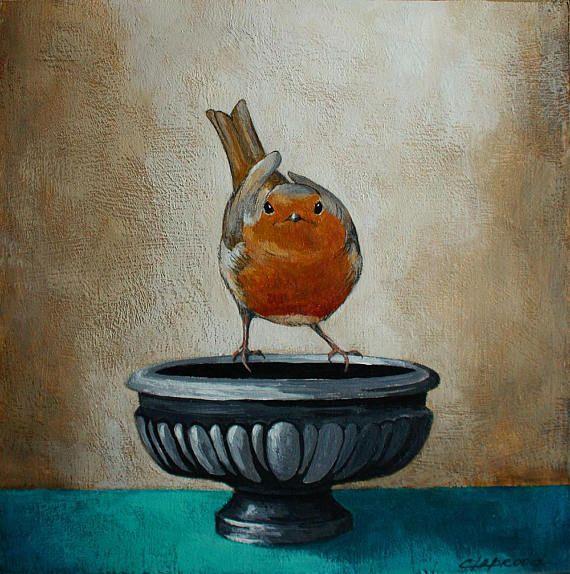 Peinture oiseau tableau oiseau et vase image oiseau orange