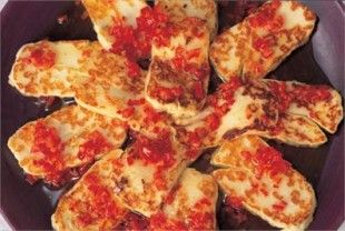 HALLOUMI WITH CHILLI - just serve it as an appetiser with drinks