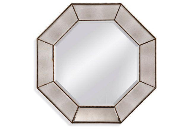 Modern Octagon Mirror, Gold