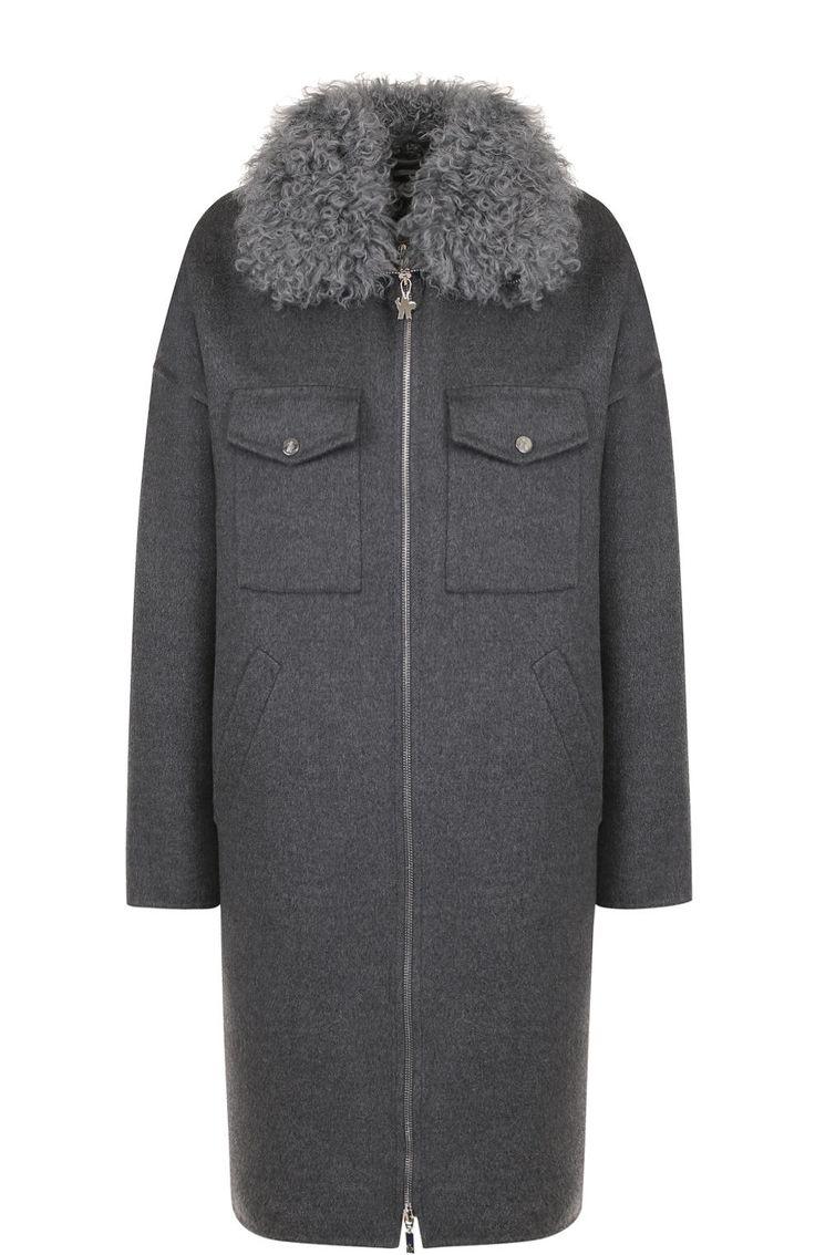 Шерстяной пальто с пуховой подстежкой и отложным воротником Moncler, темно-серого цвета, арт. C2-193-47720-10-10206 в ЦУМ | Фото №1