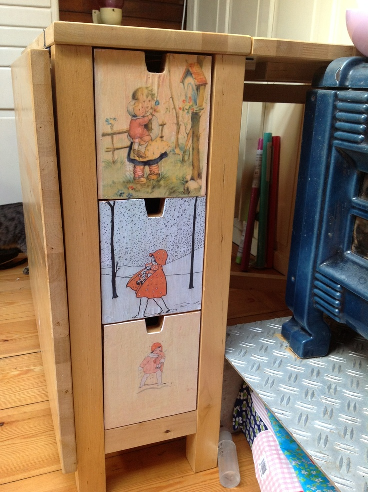 Just finished upcycling my ikea-table... Printed some nice drawings and decopatched them onto the drawers. Me happy