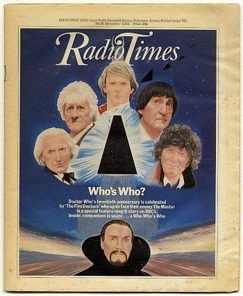 The Five Doctors and The Master on the cover of Radio Times in Nov 1983.