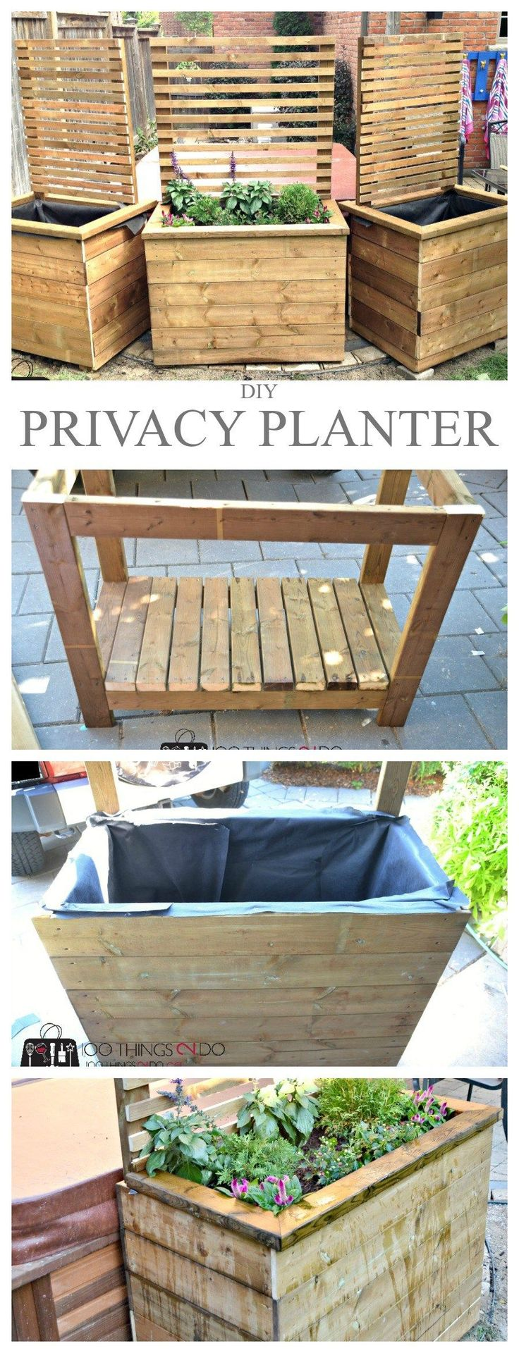 DIY privacy planter, DIY privacy screen, privacy screen, planter with screen between the driveways