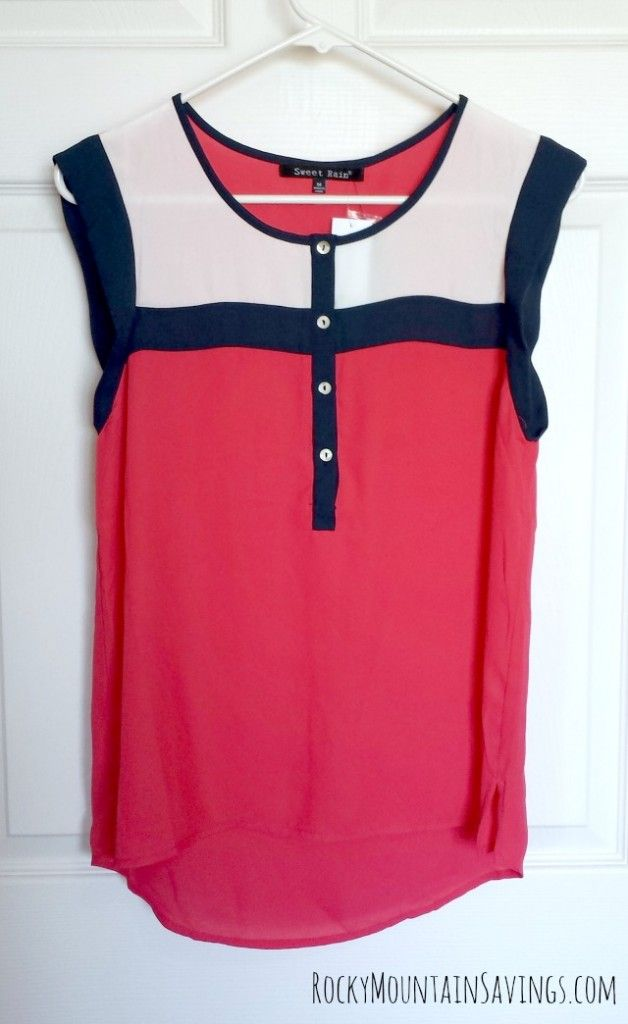Sweet Rain Shina Button-Down Blouse. Love the colors and button detail on this blouse.