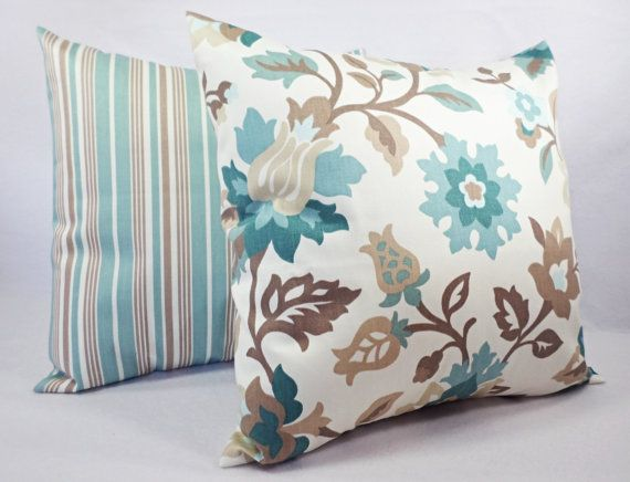 Two Couch Pillow Covers 18 x 18 Inch Blue by CastawayCoveDecor