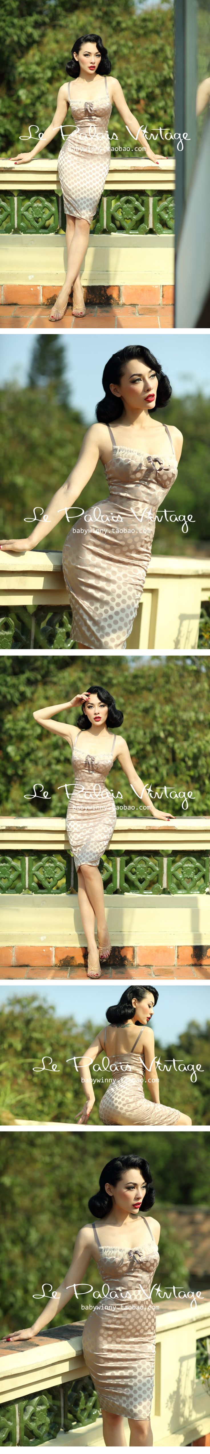 le palais vintage 优雅性感复古波点裸色紧身胸衣式连衣裙 0.2-淘宝网