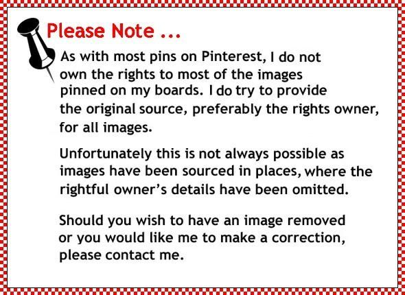 Pinterest Disclaimer Note - I greatly value crediting work to the original source wherever possible. Please comment on any pin that you know the original artist/photographer/owner/source and I have not mentioned it. Similarly - please let me know if you want anything removed from my board. I do not lay claim or own the rights to any content found on my boards including titles, stories, characters, lyrics, quotations ...