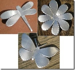 Made from soda/beer cans or pie tins. Dollar Tree sells lots of tin pans and containers, so look there if not into cutting the cans. Be great to paint them up and stick them in a flower pot or make a wreath or string with fishing line and hang. Hang several in a line to hang down.