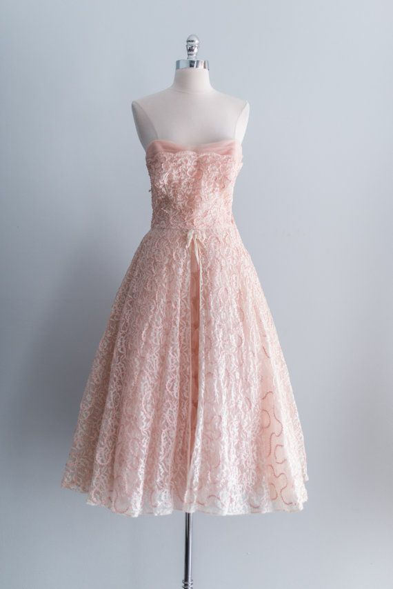NEW LISTING 1950s Pink Cotton Candy Lace by ShopGossamer on Etsy, $185.00