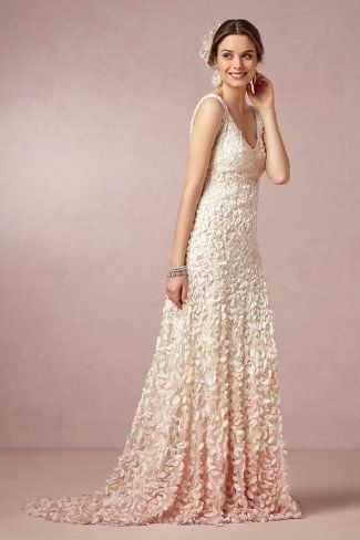 bhldn | emma gown | wedding dress | bridal gown | cherry blossom | ivory and blush ombre | glass beads and intricate petals | theia bridal