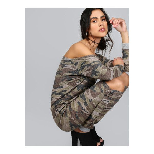 SheIn(sheinside) Oblique Shoulder Ripped Knee Camouflage Jumpsuit ($28) ❤ liked on Polyvore featuring jumpsuits, green, sexy long sleeve jumpsuit, camo jumpsuit, sexy jump suit, camouflage jumpsuit and green long sleeve jumpsuit