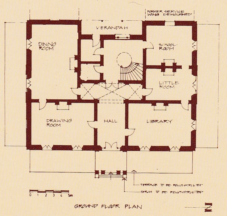 Plan of ground floor. The design of the house in many ways resembles Verge's earlier Camden Park, which was built for the Macarthur family between 1831 and 1835. While, however, it is similar in detail, the arrangement of rooms is quite different and the house is larger in scale.