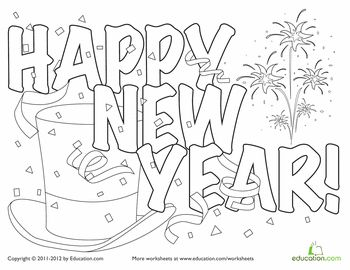 festive new year hat coloring page new years crafts and ideas new year coloring pages. Black Bedroom Furniture Sets. Home Design Ideas