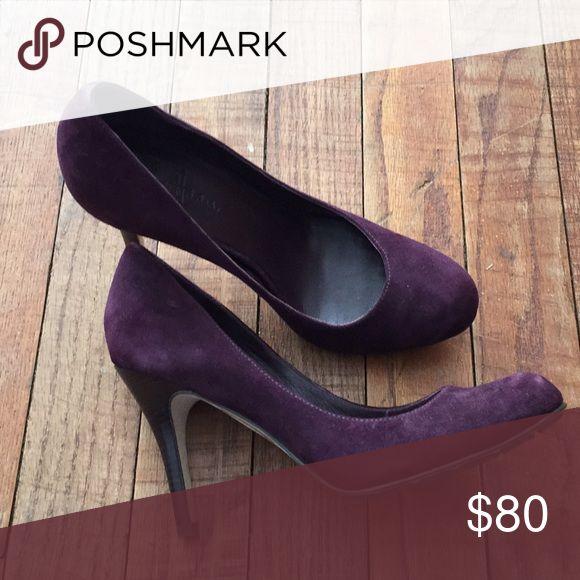 Cole Haan Women's Shoe 10197 Cole Haan Heel Air Talia Pump Dark Aubergine Suede Purple  US Size 6M  Worn Once Cole Haan Shoes Heels