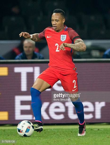 Nathaniel Clyne of England runs with the ball during the International Friendly match between Germany and England at Olympiastadion on March 26 2016...
