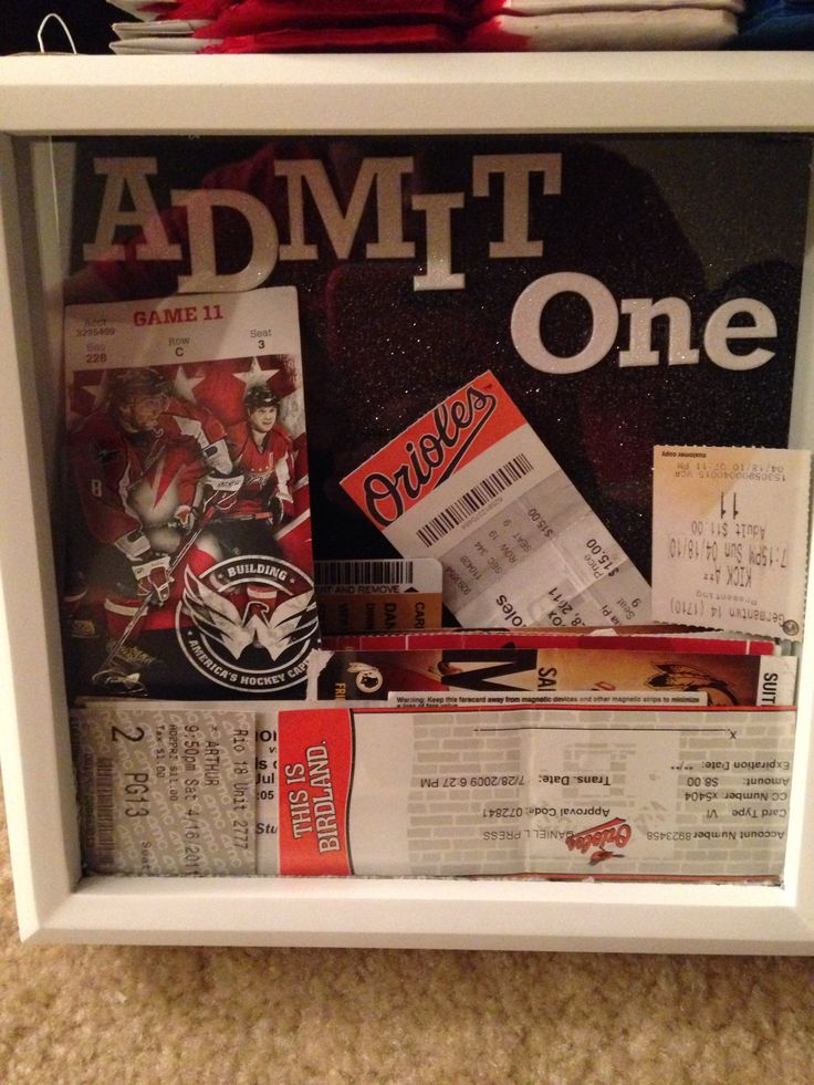 Admit One shadow box frame, I have every movie, baseball, football, hockey and concert ticket in there that my husband and I went to together!