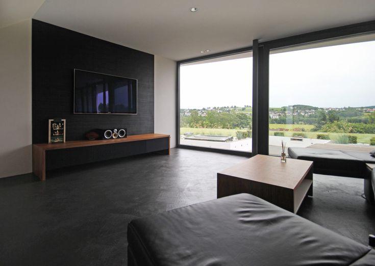 Individuelles Architektenhaus Im Vogtland Bauen Home TheaterTheatre Wohnzimmer Bodentiefe Fenster
