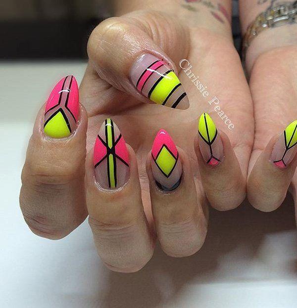 55 Abstract Nail Art Ideas With Images Yellow Nail Art