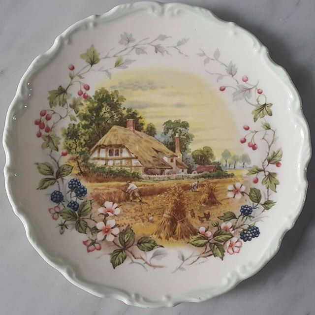 Vintage decoration plate by Royal Albert England from The Cottage Garden Year Series 'AUTUMN' edition in green rim.