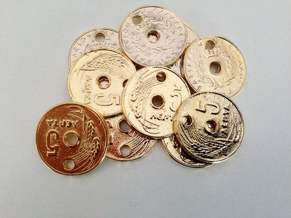 10 Greek Old Coins Greek Coin Charms 5 Cents Gold by HabitHobby