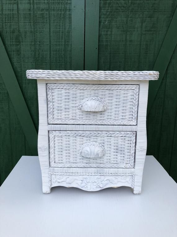 Vintage White Wicker Table End Stand Two Drawer Night Real Wood Rattan