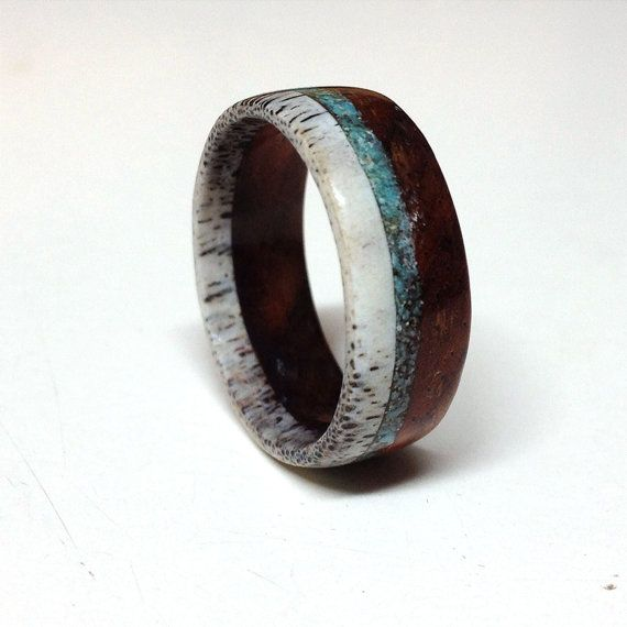Unique men's wedding ring - Wood and Antler Ring Band with Turquoise Inlay - Etsy Shop: StagHeadDesigns
