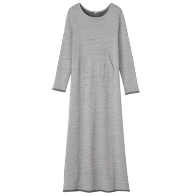 Organic cotton fleece maxi-length dress · L · medium gray