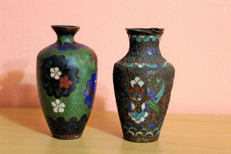 Pair Antique Small Chinese Japanese Cloisonne Enamel Vases Asian Miniature Metal Vase Set by Grandchildattic on Etsy