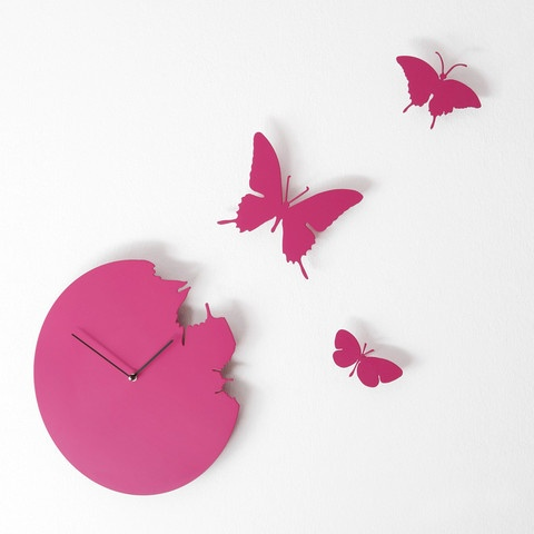 "Butterfly, magenta by Diamantini & Domeniconi. ""I give new meaning to the saying, time flies! My butterflies lead a wave of spring all year round to remind you that life is about movement and new beginnings, no matter what the season!"""
