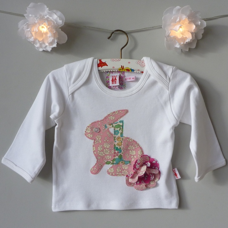 milk two bunnies — Bunny Birthday Organic T-Shirt, the perfect 1st Birthday gift. £20.00