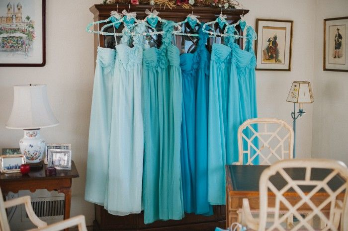 Ombre Teal Bridesmaids' Dresses.... But in all different cuts....whatever's flattering to each, but still need to all be same lengths and in fabrics that work together well.