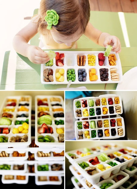 Healthy snack trays- I have to find the covered ice cube trays I used for baby food