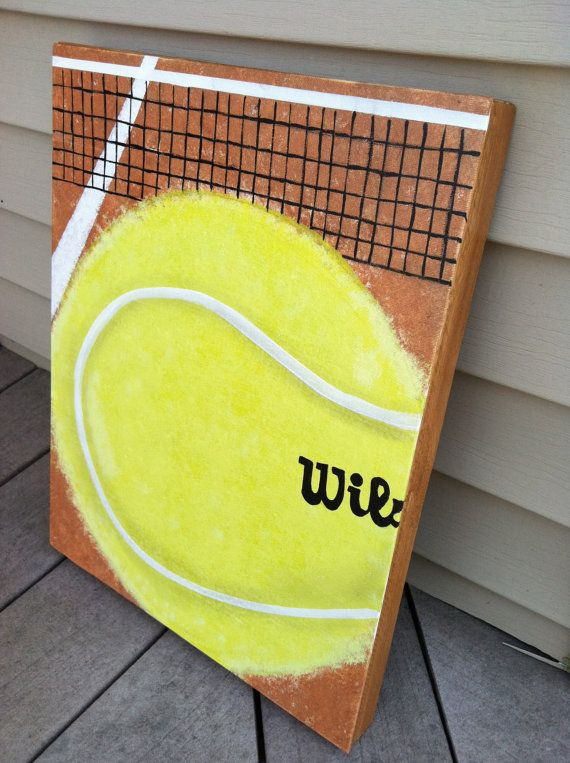 Tennis Ball Painting, Tennis Acrylic Artwork, Boy Room Ideas, Tennis Room  Art, Sport Painting For Girl Room, Tennis Art For Boy